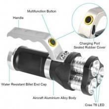 Torcia a mano tattica alluminio 3 bulbi led 3 funzioni ricaricabile impermeabile