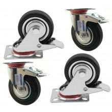 4 ruote gomma ricambio carrello rotella con staffa misure varie ruota girevole