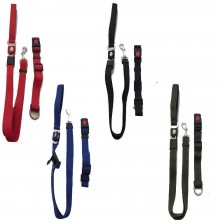 Guinzaglio e collare per cane regolabile in nylon con attacco cintura di sicurezza nascosto per trasporto in auto