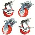 4 ruote plastica ricambio carrello rotella Freno staffa misure varie girevole