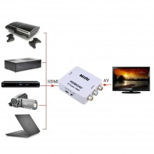 Convertitore adattatore da HDMI a AV supporto 2AV CVBS video TV segnali audio
