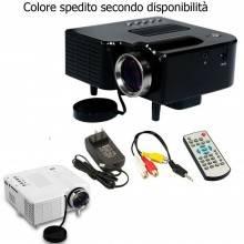 Proiettore LED 400 Lumen videoproiettore HDMI VGA AV Cinema casa video 24 W
