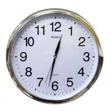 Orologio Da Parete Tondo con cromatura Quarzo Muro 28cm di Diametro Breaker235