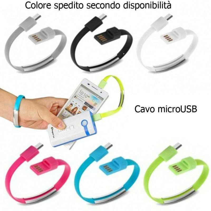 Cavo dati USB bracciale ricarica caricatore smartphone android cavetto microUSB