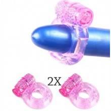 2x anello fallico vibrante silicone vibratore eiaculazione precoce con batterie