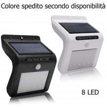 Faretto 8 LED sensore movimento pannello solare faro luce esterno illuminazione
