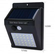 Faretto 24 LED sensore movimento esterno giardino fotovoltaico lampada solare