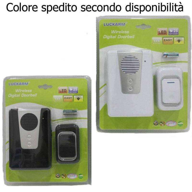 Campanello wireless casa porta senza fili doorbell 25 melodie luce LED 3905