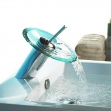 Rubinetto miscelatore rotondo vetro cascata acqua lavello bagno acciaio 812/11