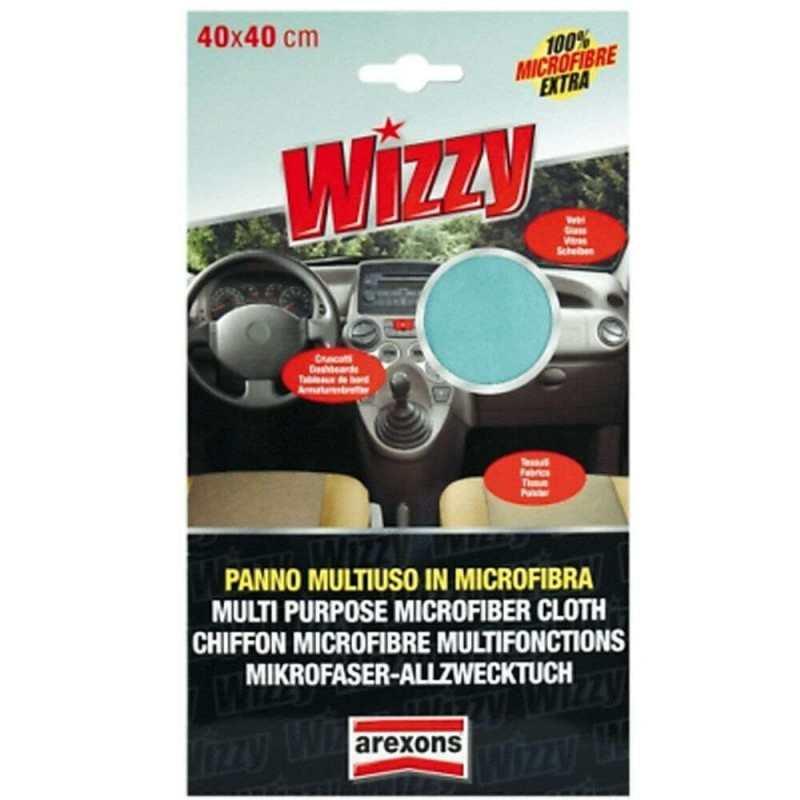 1x Panno microfibra multiuso Wizzy 40x40 asciuga pulisce superfici vetri sporco