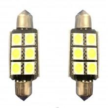 2x Lampadina siluro 39mm 6 LED Canbus auto no errore luci 12V DC ricambio SMD