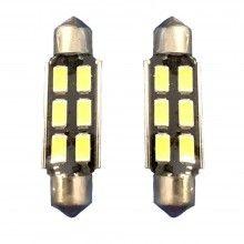 2x Lampadina siluro 36mm 6 LED Canbus auto no errore luci 12V 5036 ricambio SMD