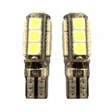 2x Lampadina T10 6 LED Canbus auto no errore luci 12V ricambio SMD luce bianca