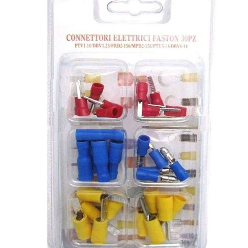 Connettori faston 30 pezzi assortiti vari colori kit terminali preisolati cavi