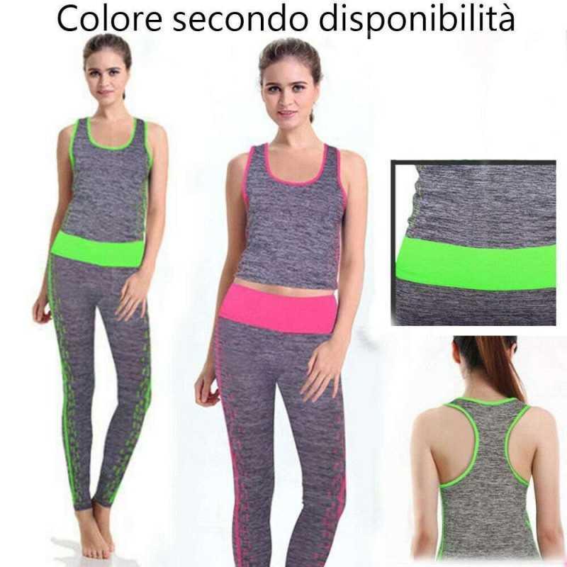 rivenditore online a0f10 01950 Tuta completa yoga sport abbigliamento donna pantalone canotta fitness