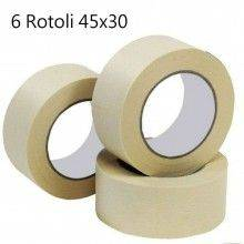 6x Nastro carta adesivo disegn pittura imballaggio maschera 4,5 cm X 50 metri