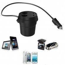 Caricatore tazza 2 porte USB presa accendisigari auto veicoli viaggio