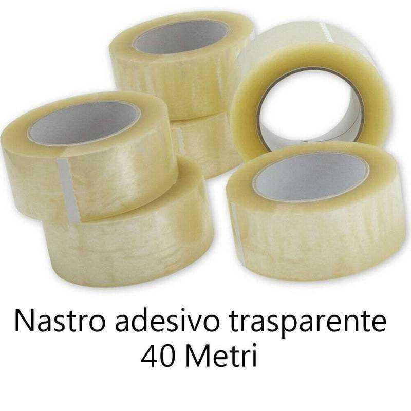 6x Nastro trasparente adesivo disegn imballaggio uffici maschera 4,8cmX80 metri