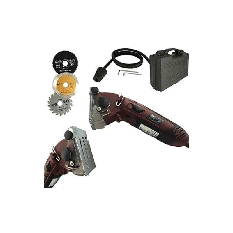 Mini sega circolare elettrica in valigetta con 3 lame e tubo aspirazione