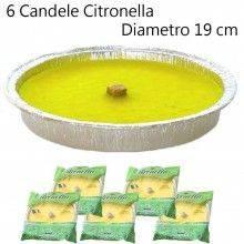 6x Candela citronella anti zanzare esterni alluminio estate giardino 19 cm