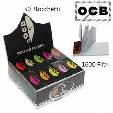 Box OCB Filtri in carta 50 libretti 1600 foglietti rollare sigarette tabacco