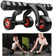 Attrezzo per addominali schiena ginnastica sport 3 ruote fitness body fisico