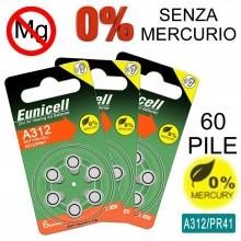 60 Batterie monouso PR41 SENZA MERCURIO batteria apparecchio acustico Misura 312 protesi