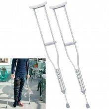 Coppia stampelle sotto ascellari alluminio altezza regolabile impugnatura comfort