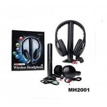 Cuffie Wireless 5in1 Microfono radio FM MH2001 Nero Senza Filo
