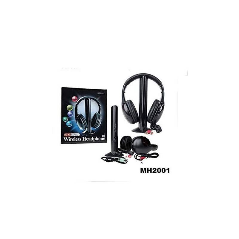 Cuffie Wireless 5in1 Microfono radio FM MH2001 Nero Senza Filo