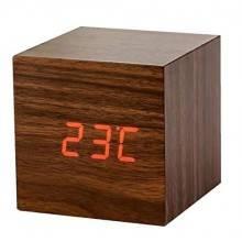 Sveglia cubo colore legno naturale con visualizzazione orario temperatura esterna e funzione sveglia Wood Alarm Clock