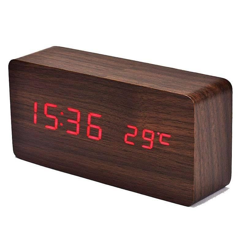 Orologio Sveglia rettangolare colore legno naturale con visualizzazione orario temperatura esterna