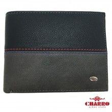 Portafoglio uomo NERO grigio con cuciture a vista carte credito CHARRO banconote antifurto 851288 tessere