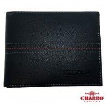 Portafoglio uomo NERO carte credito CHARRO con cuciture a vista banconote antifurto 874288 tessere