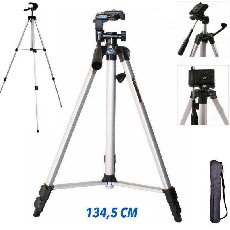 Cavalletto Treppiede fotocamera videocamera alluminino TRIPOD con custodia e livella - 134,5 CM