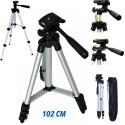 Cavalletto Treppiede fotocamera videocamera alluminino TRIPOD con custodia e livella - 102 CM