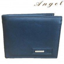 Portafoglio uomo NERO BLU carte Angel banconote 81002 tessere documenti sottile