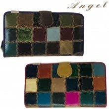 Portafoglio DONNA 8115 bordo BLU BORDEAUX documenti tessere carte monete ANGEL