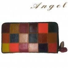 Portafoglio DONNA 8078 fantasia a QUADRI multicolore tessere carte monete ANGEL