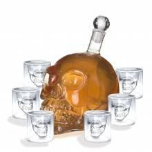 Skull Head bottiglia teschio con 6 bicchieri in vetro disegno moderno per liquore birra e vino - ottima idea regalo