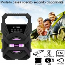 Cassa bluetooth con radio portatile USB AUX TF CARD speaker smartphone luce LED