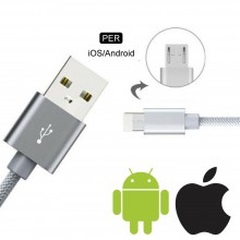 Cavo dati caricabatteria 2in1 Lighting 8 pin Micro USB connettori 1Mt smartphone