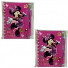 2x Block notes con penna Minnie Disney bambine scuola piccolo quaderno appunti
