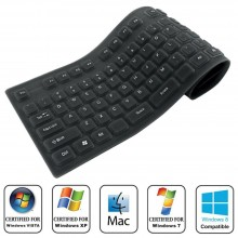 Tastiera silicone flessibile USB PS2 laptop PC notebook impermeabile lavabile