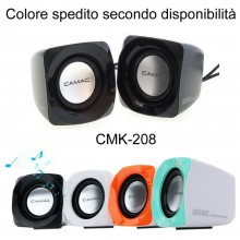 Coppia casse altoparlanti PC jack 3.5mm USB laptop CMK208 audio suono musica