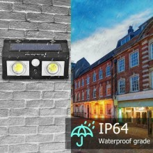 Faretto esterno 40W faro luce 62 LED cob sensore movimento casa energia solare