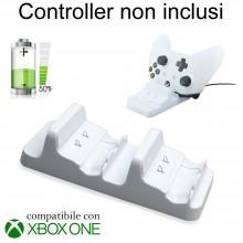 Stand BIANCO supporto ricarica controller Xbox ONE S doppio caricatore Joystick