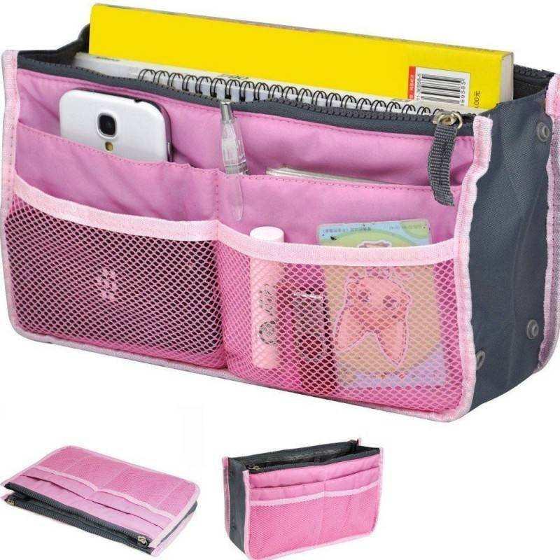 Organizzatore per borsa portaoggetti da viaggio. Comodissima pochette bag in bag - Colore Rosa