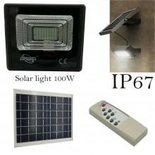 Faretto LED SMD esterno 100W IP67 faro pannello solare 6500K sensore movimento