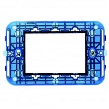 10x Supporti placca blu 3 moduli pulsanti interruttori prese a muro C1803